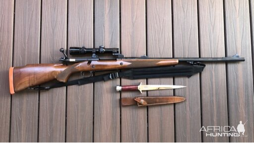 Winchester 70 Rifle in .375 H&H & Hunting Knife